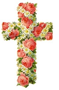 Christian Easter cross covered with roses and daisies