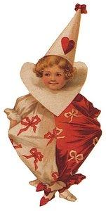 Child Valentine jester with heart around neck.
