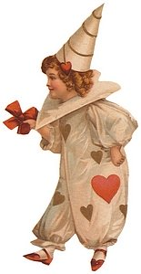Child in Valentine costume covered with hearts.