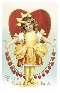 vintage valentine image girl w string of hearts
