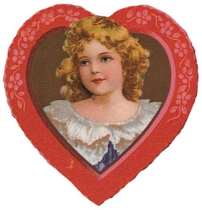 Heart frames vintage girl for Valentine.