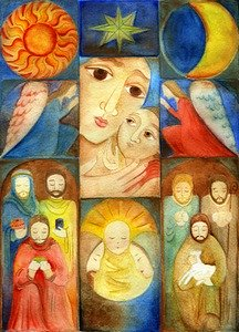 stained glass window with six blocks showing disciples, angel, Mary, star, sun, moon.