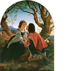 Lovers sitting under tree gazing fondly at each other