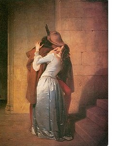 Famous painting of lovers kissing. Man in Robin Hood type outfit kissing woman in full length light blue satin dress.