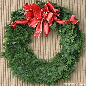 christmas wreath with big red bow