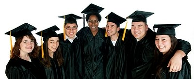 Seven graduates in black robes and tasseled caps for congratulation graduation