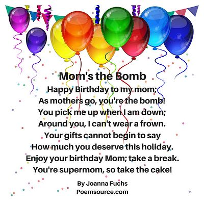 Multicolor balloons hanging from ceiling with mother birthday poem Mom's the Bomb.