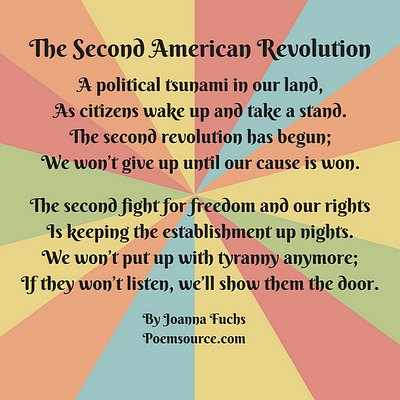 Multicolor background with patriotic poem The Second Revolution.