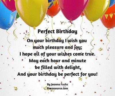 Birthday poem Perfect Birthday balloons on white dotted background.