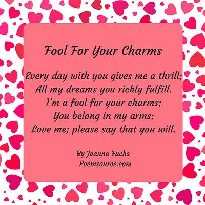 Red hearts on white background, rose colored center with short love poem I'm A Fool for Your Charms.