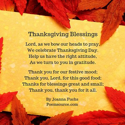 Gold background framed with red fall leaves and Thanksgiving poem titled Thanksgiving Blessings in the middle.
