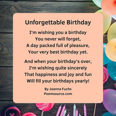 Birthday balloons background for Unforgettable Birthday poem.