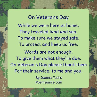 Camoflauge background with camo green square with Veterans Day poem On Veterans Day