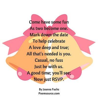 Wedding poem over yellow and pink wedding bells