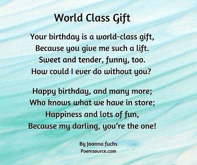 Birthday love poem World Class Gift on pastel abstract aqua background.